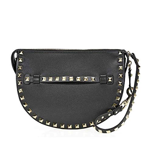 Valentino Rockstud Leather Clutch- Black