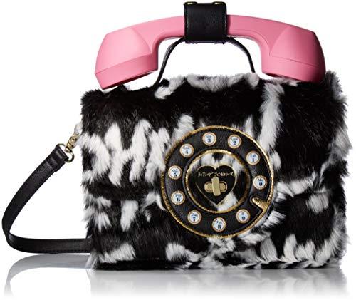 Betsey Johnson Hello Phone Bag, Black/Cream
