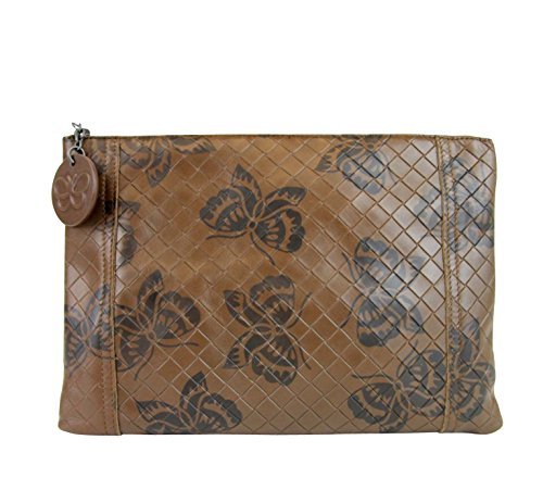 Bottega Veneta Intrecciomirage Brown Leather Butterfly Clutch Pouch Bag 301499 8402