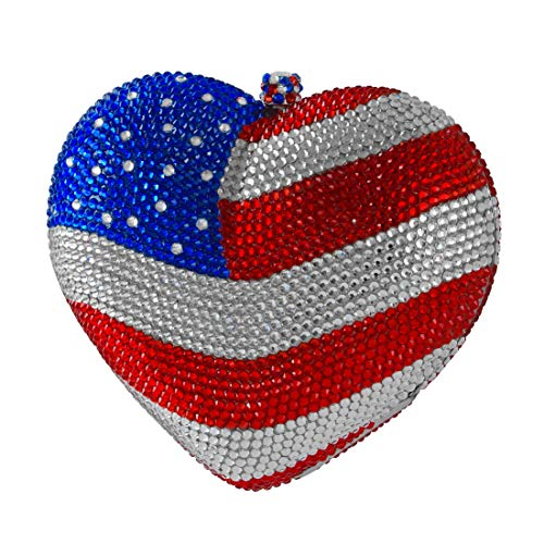 Heart Shaped American Flag Crystal Clutch Fourth of July Patriotic Evening Bag Red Silver Blue