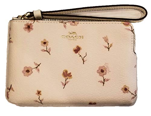 Coach Crossgrain Leather Corner Zip Wristlet Vintage Prairie Print (Chalk Multi/Light Gold)
