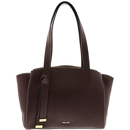Nine West Women's Mariele Shopper Leather Shoulder Bag – Dark Garnet/Platino