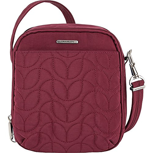 Travelon Anti-Theft Quilted Tour Bag – Extra Small RFID Lined Crossbody for Travel & Everyday – (Ruby/Dusty Rose Interior)