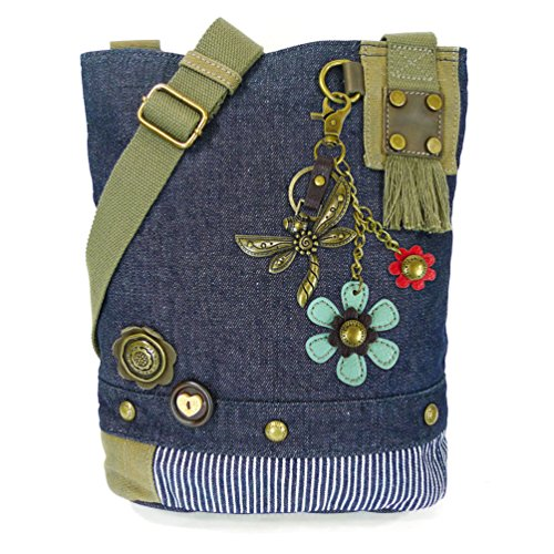 Chala Canvas Patch Cross-body Women's handbags with Dragonfly Key-Fob (Denim-Metal-DF1) (Denim-Metal-DF1)