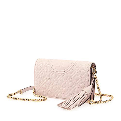 Tory Burch Fleming Quilted Leather Wallet Crossbody in Shell Pink