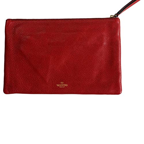 Valentino Women's Red 100% Leather Rockstud Wristlet Clutch Bag