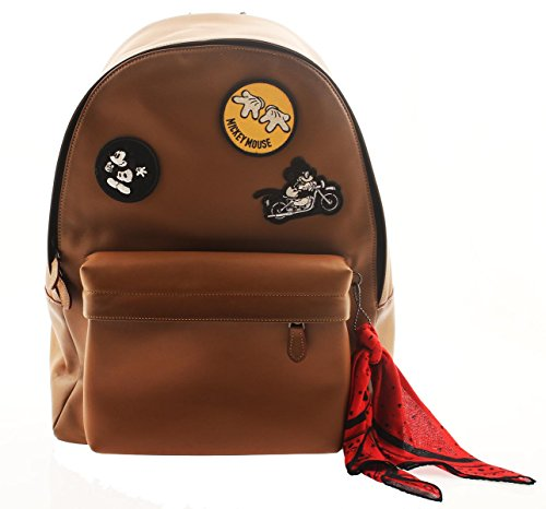 COACH Mickey Mouse Leather Backpack in Patchwork Saddle