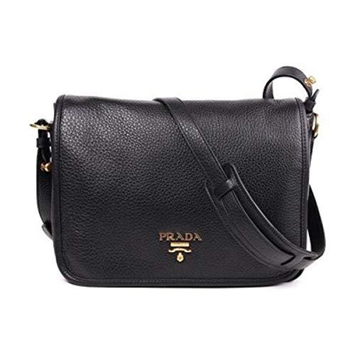 Prada Vitello Phenix Nero Black Pattina Shoulder Messenger Bag 1BD091