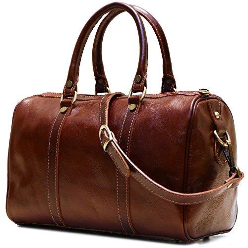 Floto Boston Bag in Brown Calfskin Leather