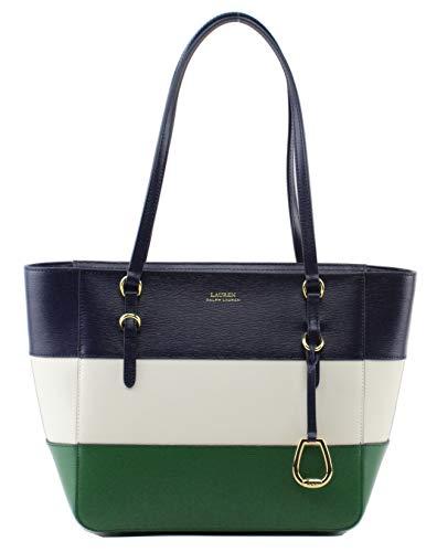 Lauren Ralph Lauren Bennington Leather Shopper Bag, Medium, Navy Multi