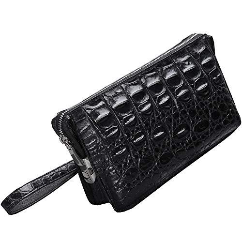 EEKUY Crocodile Leather Wallet, Men's Handbag Big Bone Thorn Leather Business Clutch Bag Large Capacity 9.1×2.4×5.5″