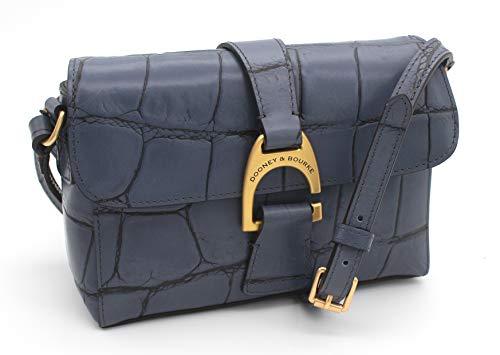 Dooney and Bourke Kyra Denison Croco Emb Leather Crossbody Steel Blue