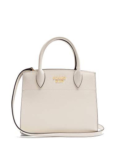 Prada Saffiano City Leather White Handbag w Black Trim Bibliotheque Tote Bag 1BA049