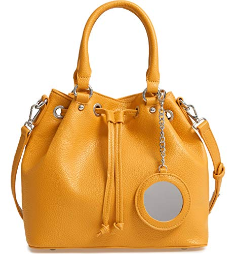 Steve Madden Baudrie Mustard Faux Leather Mirror Charm Drawstring Bucket Crossbody Handbag Shoulder Bag