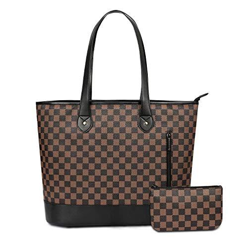 Checkered Tote Bag for Women PU Tote Handbags Purse Shoulder Bags,Brown/Black