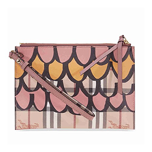 Burberry Tromp L'oeil Haymarket Leather Wristlet – Dusty Pink