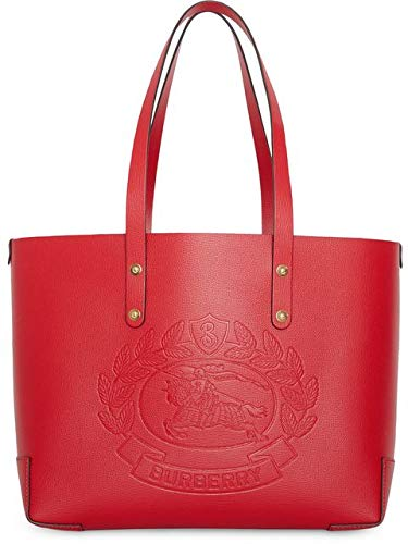 Burberry Red Rust Gold Small Tote Embossed Crest Handbag Bag New
