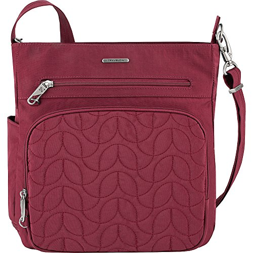 Travelon Anti-Theft Quilted North South Bag – Medium Nylon Crossbody for Travel & Everyday – (Ruby/Dusty Rose Interior)