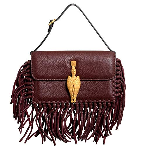 Valentino Women's 100% Leather Fringe Griffin Handbag Clutch Bag