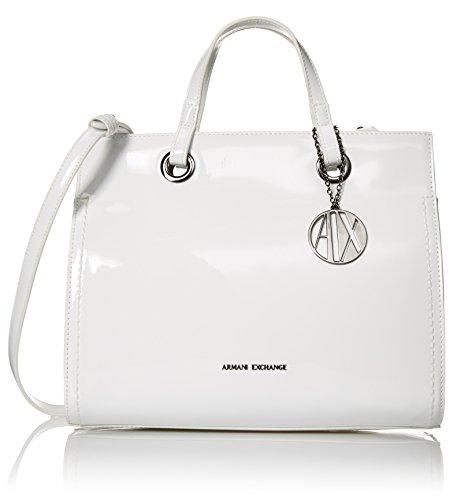 A|X Armani Exchange Medium Patent Shopping Bag, 00010