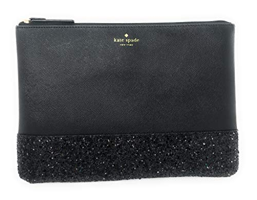 Kate Spade New York Leather Glitter Gia Greta Street Clutch Bag Black