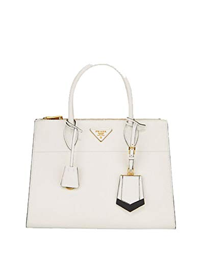 Prada Saffiano City Leather Cross body Tote Handbag White with Black Trim 1BA102