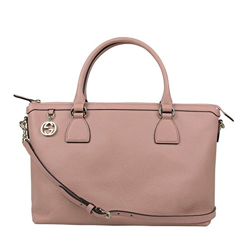 Gucci GG Charm Soft Pink Leather Large Convertible Straight Bag With Strap 449650 5806