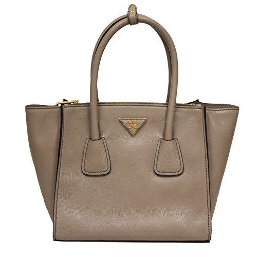 Prada Glance Twins Leather Shopping Tote with Shoulder Strap 1BG625 Pomice Grey