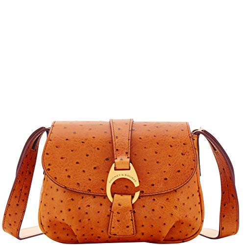 Dooney and Bourke Derby Ostrich Small Flap Crossbody Natural