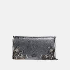 Coach Callie Foldover Chain Clutch With Metal Tea Rose MEtal Metallic Graphite Bag New