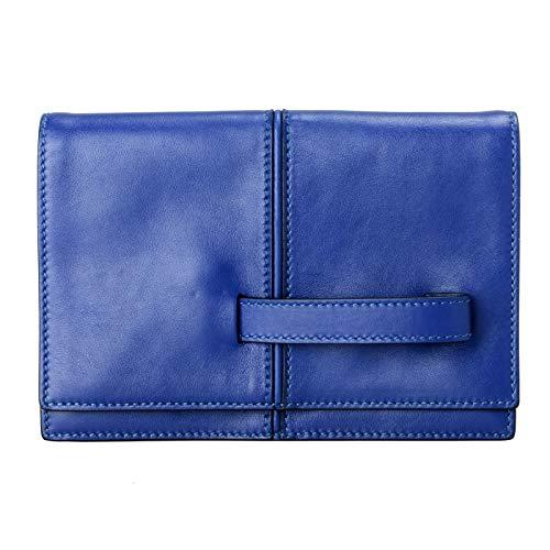 Valentino Women's Blue 100% Leather Clutch Handbag Bag