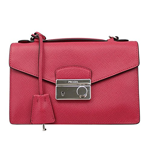 PRADA Pink Saffiano Leather Clutch Bag W/Strap Bt0960 Peonia