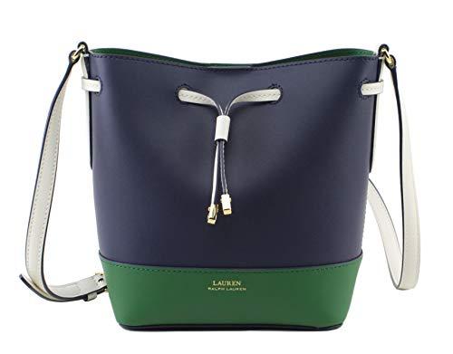 Lauren Ralph Lauren Dryden Mini Leather Drawstring Bag, Navy Multi