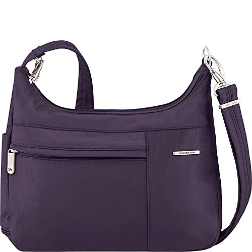 Travelon Anti-Theft Medium Welted Double Zip Crossbody – Lightweight Water & Dirt Resistant Handbag – (Purple/Gray Interior)