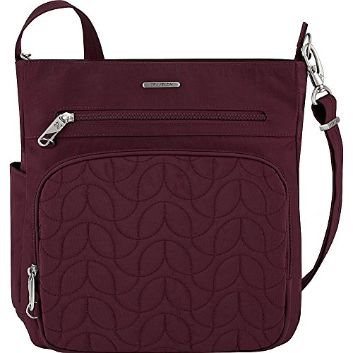Travelon Anti-Theft Quilted North South Bag – Medium Nylon Crossbody for Travel & Everyday – (Dark Bordeaux/Dusty Rose Interior)