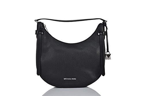 Michael Kors Women's Black Pebbled Leather Cassie Hobo Shoulder Bag