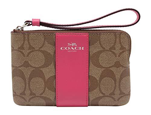 Coach Signature Zip Wallet Clutch Bag – Pink/Khaki