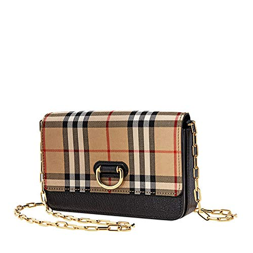Burberry Mini Vintage Check and Leather D-ring Bag- Black