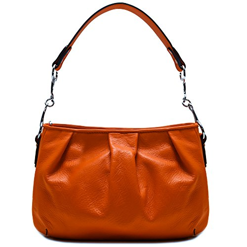 Floto Firenze Hobo Shoulder Handbag in Soft Orange Calfskin Leather