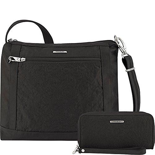 Travelon Anti-Theft Square Crossbody and Wallet Set – Medium RFID Lined Handbag for Travel & Everyday – (Black/Dark Emerald Interior)