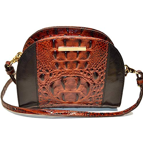 Brahmin Leah Croco Emb Leather Xbody Bag Pecan Fitzgerald