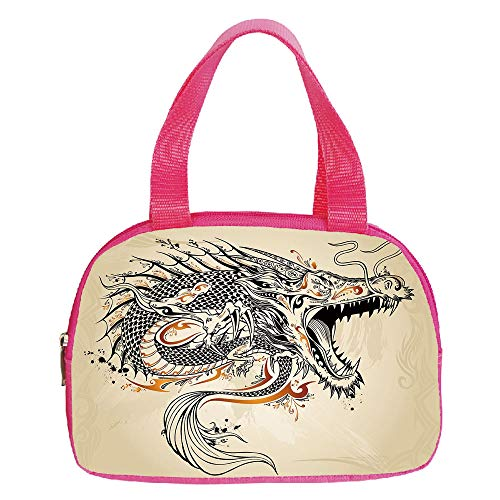 Personalized Customization Small Handbag Pink,Japanese Dragon,Doodle Style Roaring Creature with Tail Fangs Scales Tribal Details,Tan Black Gold,for Girls,Personalized Design.6.3″x9.4″x1.6″