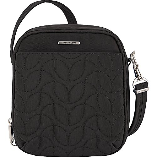 Travelon Anti-Theft Quilted Tour Bag – Extra Small RFID Lined Crossbody for Travel & Everyday – (Black/Dark Emerald Interior)