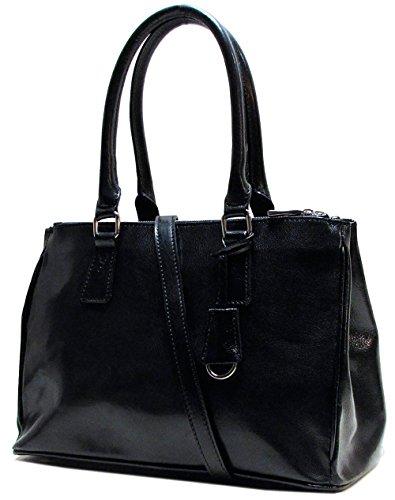 Floto Womens Custom Initials Personalization Roma Satchel Handbag in Black