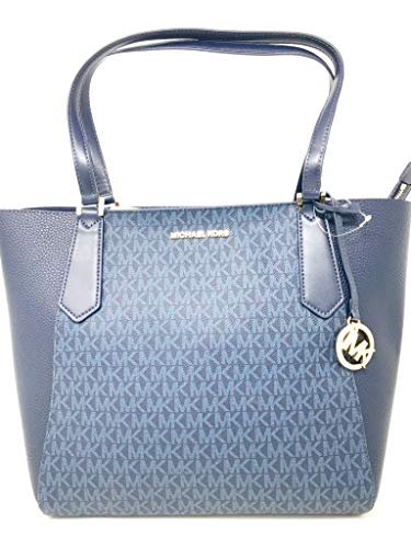 New Michael Kors Kimberly Large Bonded Admiral Blue Handbag Tote