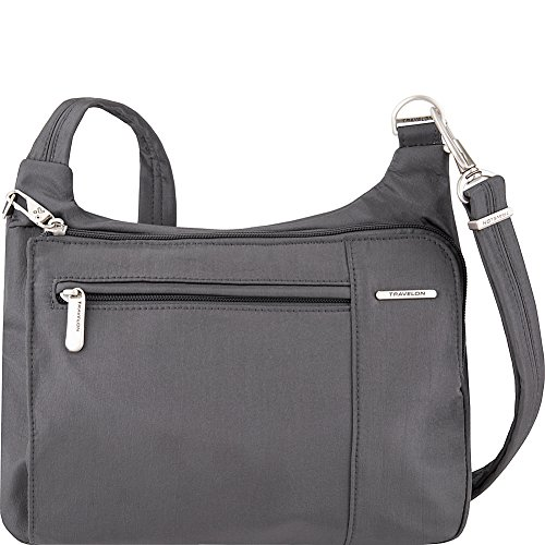 Travelon Anti-Theft Asymmetric East/West Bag – Small Nylon Crossbody for Travel & Everyday – (Pewter/Dark Emerald Interior)