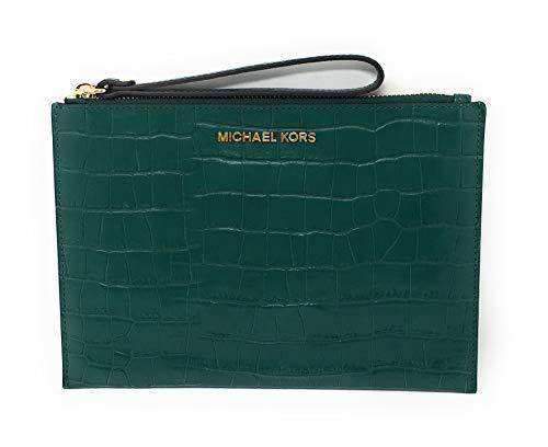 Michael Kors Jet Set Travel Embossed Leather XL Zip Clutch in Emerald