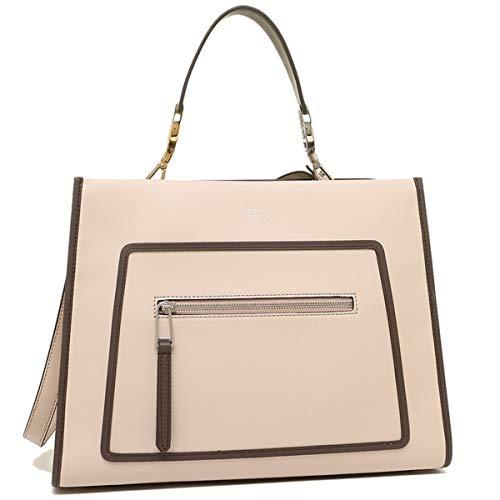 Fendi Shopping Bag Runaway Calf Leather Soap + Moresco tan with brown trim Handbag + Palla 8BH343
