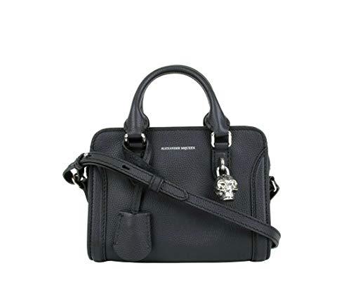 Alexander McQueen Women's Dark Navy Leather Silver Skull Satchel Bag 419781 4910