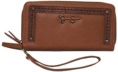 Jessica Simpson Tashani Double Zip Around Wristlet/Wallet, Cognac